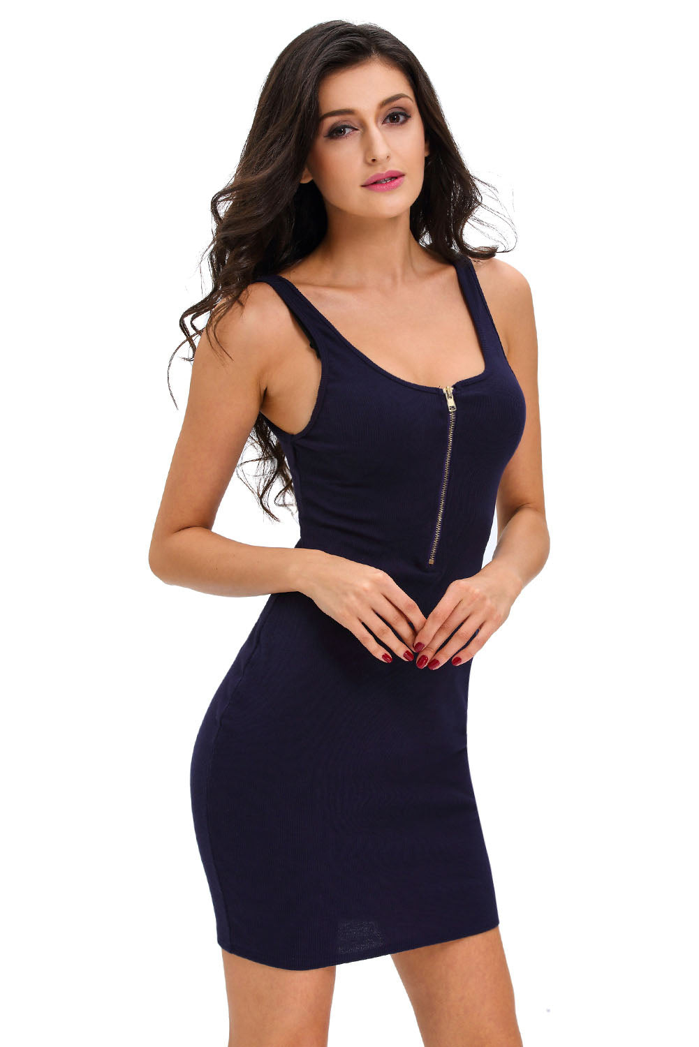 Navy Blue Ribbed Zipper Tank - Online Women Mini Dress