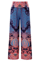 Navy and Orange Printed Palazzo Pants - Online Women Pants & Culotte Dresses