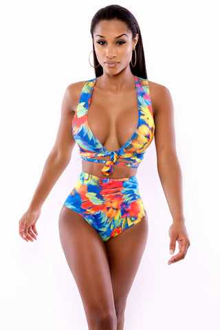 Neon Tropics Wrap Swimsuit Lingerie - Online Women HIGH WAIST SWIMWEAR