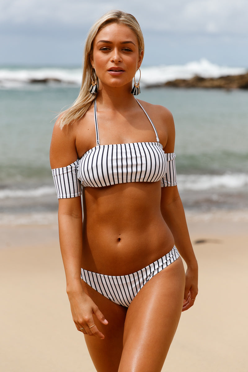 Off-the-shoulder Striped Bikini Swimsuit - Online Women Bikini Swimwear