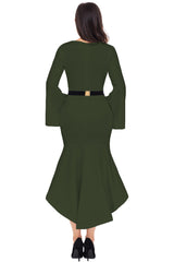 Bell Sleeve Dip Hem Belted Dress - Online Women Midi Dress