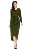 Tulip Faux Wrap Sash Tie Jersey Dress - Online Women Jersey Dresses