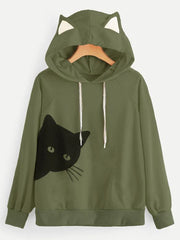 Sweet Kitty Printed Hoodie Sweatshirt