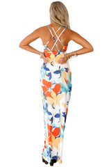 Multi-color Floral Print Crisscross Back Maxi Dress - Online Women Boho Dresses