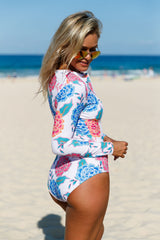 Pink Blue Peony Long Sleeve Zip Front One Piece Swimsuit - Online Women ONE PIECE SWIMWEAR