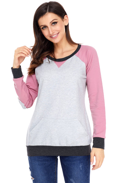 Patch Elbow Sweatshirt Top - Online Women SWEATERS & HOODIES