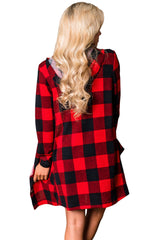 Checkered Button Up Hooded Cardigan - Online Women Daily New