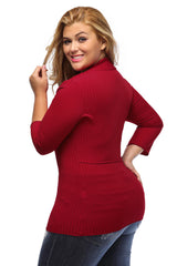 Deep V Fitted Rubbed Knit - Online Women Plus Size Top Dresses