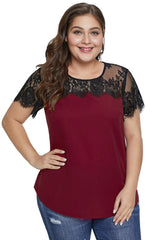 Red Lace Yoke Plus Size Top