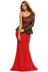Gold Floral Lace Peplum Top Long Skirt - Online Women Evening Dress
