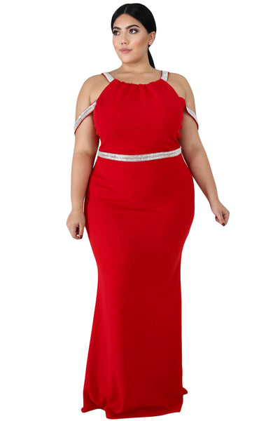 Red Plus Size Rhinestone Galore Maxi Dress