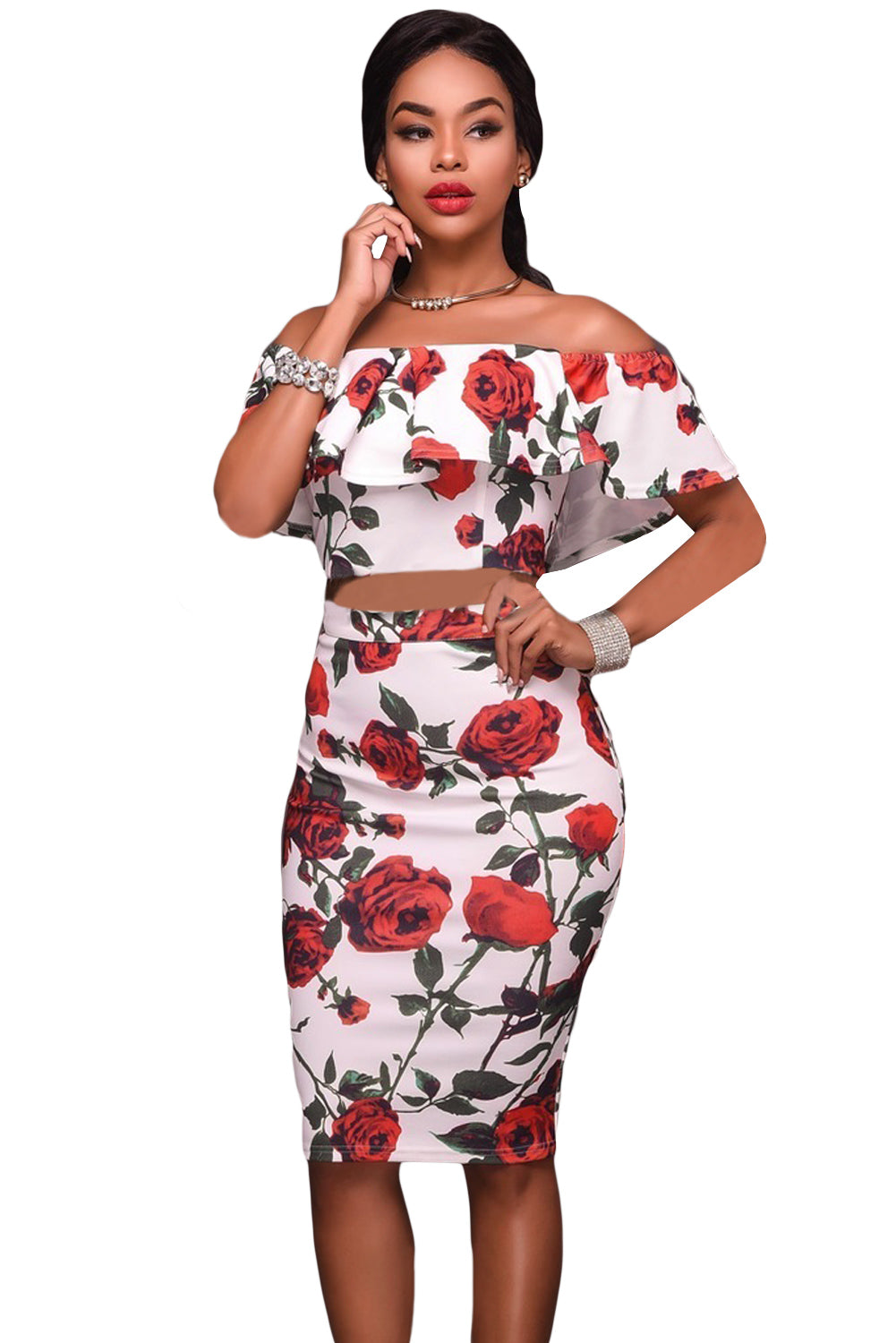 Red Roses Print Two-piece - Online Women Skirt sets