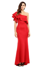 Ruffle One Shoulder Elegant Dress - Online Women Evening Dresses