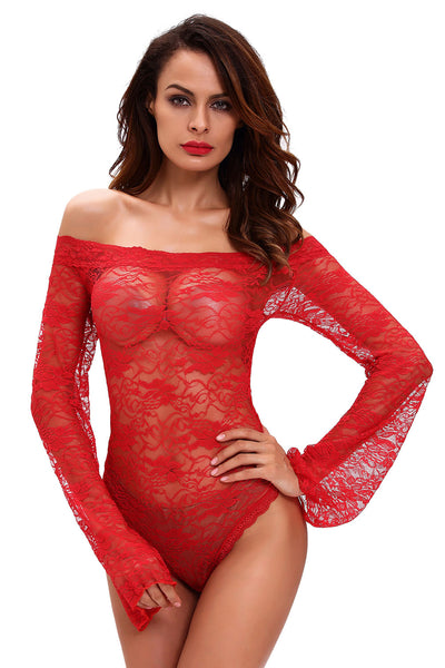Sexy Sheer Off-shoulder Bell Sleeve One Piece Lingerie - Online Women VALENTINE LINGERIE