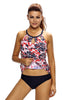 Reddish Leaf Print Cutout High Neck Swim Top - Online Women Bikini Tops