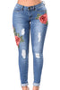 Rose Embroidered Whisker Detail Skinny Jeans - Online Women Jeans