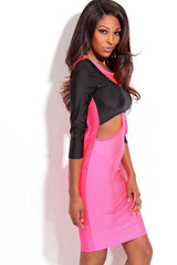 Rosy Black Two Tone Cut out 3/4 Sleeves Bodycon Dress - Online Women Daily New