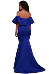 Ruffle Off Shoulder Maxi Party - Online Women Evening Dresses