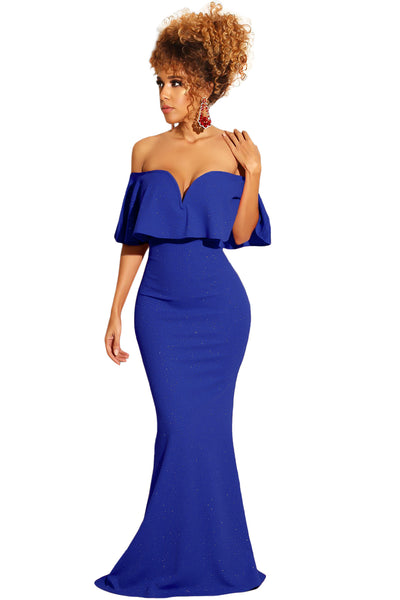 Royal Blue Ruffled Poncho Shiny Off Shoulder Party Gown