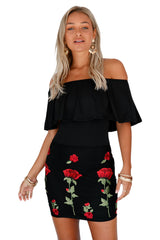 Ruffle Off Shoulder Floral Embroidered Little - Online Women Mini Dress