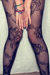 Seamless Floral Fishnet Tights - Online Women PANTYHOSE