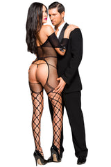Sexy Open Cup Fishnet Off-shoulder Bodystocking with Bow - Online Women BODY STOCKINGS