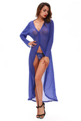 Sexy Sheer Long Sleeve High Low Robe with Thong - Online Women GOWN & LONG DRESS