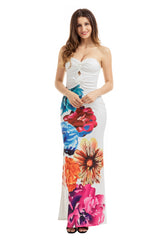 Sexy Twist Front Bandeau Maxi Floral Dress - Online Women Boho Dresses