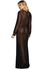 Sheer Long Sleeve Lace Robe with Thong - Online Women GOWN & LONG DRESS