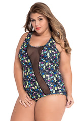 Sheer Mesh Accent Floral Print - Online Women Plus Size Swimwear