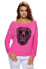 Skull Print Off Neck Long Sleeve - Online Women's T-Shirts Dress