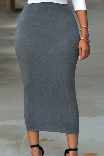 Solid Grey High-waisted Bodycon Maxi Skirt - Online Women Skirts & Petticoat