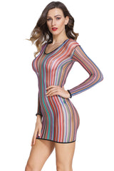 Stripe Fishnet Chemise Dress - Online Women BABYDOLL & CHEMISE