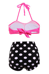 Vintage Pin Up Pink & Black Dot Bandeau High Waist Bikini - Online Women HIGH WAIST SWIMWEAR