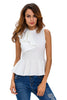 White Asymmetric Ruffle Side Peplum Top - Online Women Clubwear Top