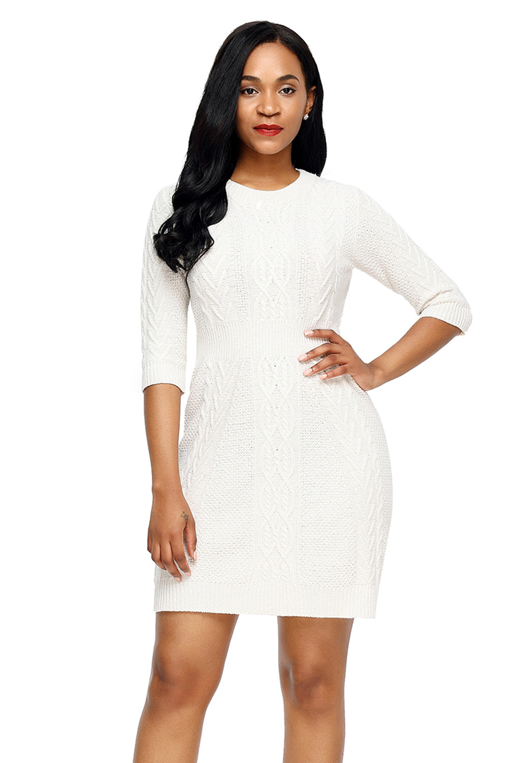 1f83a2b551e Cable Knit Fitted 3 4 Sleeve - Online Women Sweater Dress – Rahel ...