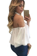 White Chocker Neck Bare Shoulders Flare Crop Top - Online Women Crop Tops