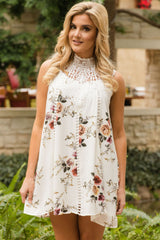 Crochet Lace Neck Floral Dress - Online Women Boho Dresses