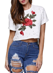 White Embroidered Flower Broken Hole Crop Top - Online Women Crop Tops