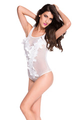 Floral Embroidered Sheer Mesh - Online Women Bodysuit