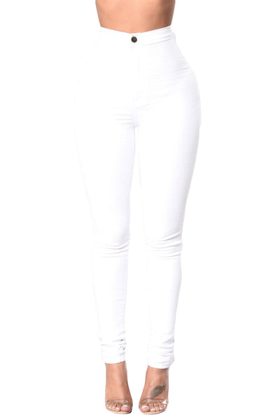 White High Waist Skinny Jeans with Round Pockets