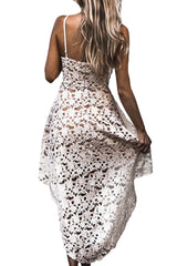 White Hollow Lace Nude Illusion Hi-low Party Dress - Online Women Evening Dress