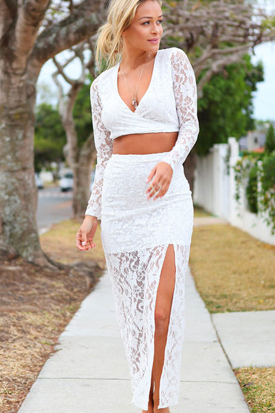 Long Sleeve Fetish Lace - Online Women Skirt sets