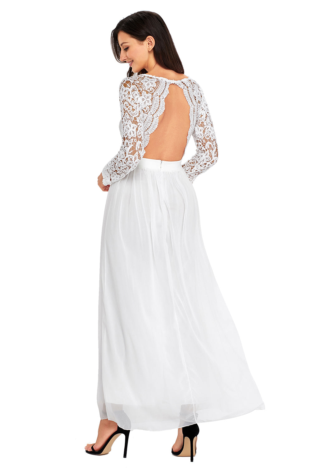 9f568a8b0f0 Long Sleeve White Crochet Maxi Dress - Aztec Stone and Reclamations