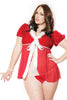 Trim Mesh Splice Hooded Santa - Online Women Plus Size Costumes