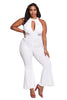 Cut Out Mesh Trim Flared Jumpsuit - Online Women Plus Size Costumes