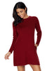 High Neck Long Sleeve Knit - Online Women Sweater Dress