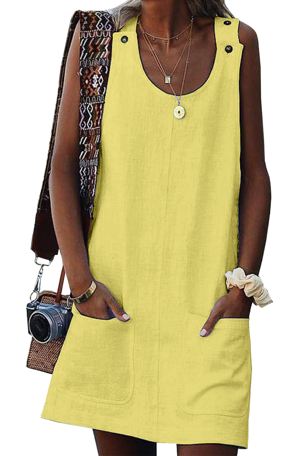 Yellow Buttoned Pockets Sleeveless Dress