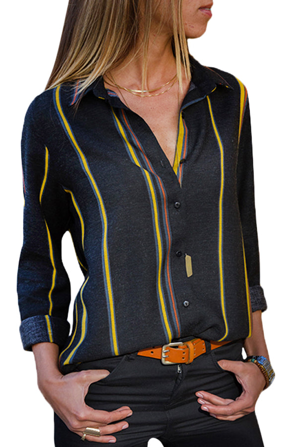 Yellow Charcoal Striped Modern Women Shirt