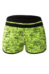 Yellow Individual Handwriting Print Swim Shorts - Online Women Bikini Bottoms